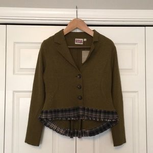Anthropologie Military Blazer in Olive Green